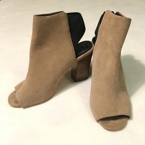 Sole Society tan suede open-toe heeled booties